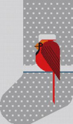 CHARLEY HARPER'S-COOL CARDINAL STOCKING-CH-C001ST-13 CT NEEDLEPOINT CANVAS