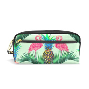 ALAZA Cute Pink Flamingo Pineapple PU Leather Pen Pencil Case Pouch Case Makeup Cosmetic Travel School Bag