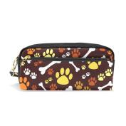 ALAZA Cartoon Dog Paw Print Bone PU Leather Pen Pencil Case Pouch Case Makeup Cosmetic Travel School Bag