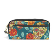 ALAZA Mexico Sugar Skull Flower PU Leather Pen Pencil Case Pouch Case Makeup Cosmetic Travel School Bag