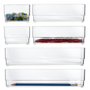 Clear Plastic Desk Drawer Organisers | 6 Piece Set