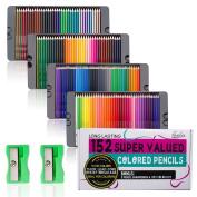 Feela Coloured Pencils Premium Soft Core 152 Colours Pencils Set with Pencil Sharpener for Adult Colouring Books