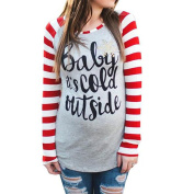 Vin beauty Baby It's Cold Outside Long Sleeve Red and White Striped T Shirts for Woman