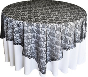 180cm x 180cm Lace Table Overlays, Lace Tablecloths Square, Lace Table Overlay Linens, Lace Table Toppers for Wedding Decorations, Events Banquet Party Supplies – Black