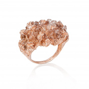 Niza Huang Under Earth Rose Gold Plated Sterling Silver with Quartz Cocktail Ring