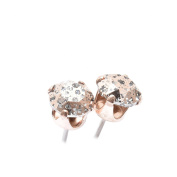 Rose Gold stud earrings expertly made with Rose Patina crystal from ®.