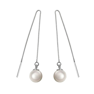 SELOVO 9mm Simulated Pearl 925 Sterling Silver Pierced Threader Chain Thread Dangly Earrings