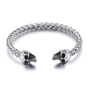 Heyrock Punk Leading Opening Two Headed Skulls Bracelet Weave Tails Stainless Steel Viking Jewellery for Mens Women