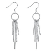 SavingMart Fashion Silver Plated Multilayer Lines Dangle Hook Earrings for Women Girls