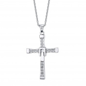 Heyrock Fast and Furious Crystals Cross Pendant Necklace For Men Titanium Steel Jewellery