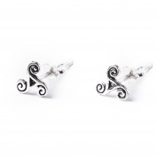 81stgeneration .925 Sterling Silver Celtic Trinity Triskele Triskelion Spiral Stud Earrings