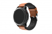 Garmin Fenix 5 Watch Band, Enow Premium Genuine Leather Strap, Classic Bracelet Replacement with Secure Buckle, Adapter for Garmin Fenix 5