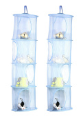 TIRSU Mesh Hanging Storage Organiser toy storage space saver bags 4 Compartments for kid room blue 2pieces lz0001-blue-4tr
