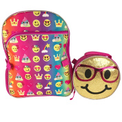 Emoji 41cm Inch Backpack & Lunch Bag Set - Emojicon Style With Gold Sequin Removable Lunchbag