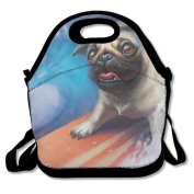 Flying XIE Lunch Tote Bag Lovely Pug Dog Insulated Lunch Box Food Bag Pouch Tote Bag For Adults, Kids School Work Picnic Reusable Container Neoprene