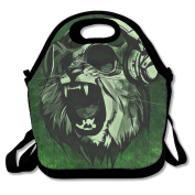 Flying XIE Lunch Tote Bag Music Lover Wolf Green Insulated Lunch Box Food Bag Pouch Tote Bag For Adults, Kids School Work Picnic Reusable Container Neoprene