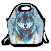 Flying XIE Lunch Tote Bag Blue Painting Wolf Insulated Lunch Box Food Bag Pouch Tote Bag For Adults, Kids School Work Picnic Reusable Container Neoprene