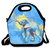 Flying XIE Lunch Tote Bag Blue Painting Elephant Insulated Lunch Box Food Bag Pouch Tote Bag For Adults, Kids School Work Picnic Reusable Container Neoprene