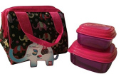 Children's Insulated Lunch Kit - Navy Elephant Circus - with sandwich container -reusable ice pack - one cup contaner