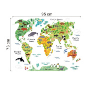 Vinyl Animal World Map Wall Sticker For Kids Rooms Bedroom Decor Pegatinas De Pared Home Decor Living Room Colourful Stickers