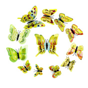 La Vogue 12 Pieces Butterfly Art DIY Decor Wall Stickers Decals Decoration Green1