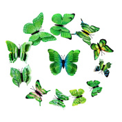 La Vogue 12 Pieces 3D Butterfly Stickers Wall Stickers for Home Decoration Green