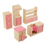 5pcs/set Novelty Wooden Dollhouse Furniture Kitchen Set Girls Doll House