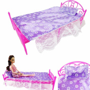 3 Items/Set Barbie Doll Play House Furniture (Bed+Pillow+ Purple Lace Bed Sheet) Doll Accessories