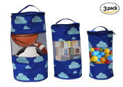 Earthwise Toy Storage Bags - Organising Kid's Toys Colourful Cute Clouds Print Set of 3 Small, Medium and Large Tote