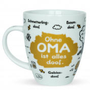 "'Sheepworld 45135 Printed Mug ""Ohne Oma ist alles doof Porcelain Cake Stand, Multi-Colour, 9.5 x 9.5 x 11 cm"
