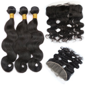 Peruvian Virgin Hair Mix 3 Lengths Body Wave Hair Bundles with 1 Lace Frontal Closure Ear to Ear with Baby Hair