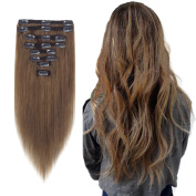FIRSTLIKE Clip in Human Hair Extensions Straight Full Head 41cm 8 Pieces 18 Clips
