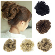 FUT Scrunchie Bun Up Do Hair piece Hair Ribbon Ponytail Extensions Wavy Curly or Messy Various Colours light brown
