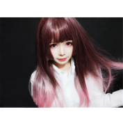 Lolita Ombre Wine Red T Pink Straight Wig Synthetic Curly Wave For Women High Temperature Burgundy Natural Afro Wigs