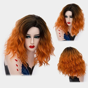 Max beauty Cosplay Anime Wig Short Curly Wave Women Omber Dark Roots Wigs Hair Free Cap/Ombre Orange mix Brown