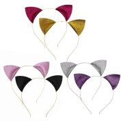 SOOKOO 6 Pieces Glitter Cat Ear Headbands Hair Hoops Kitty Headbands for Women Girls Daily Wearing and Party Decoration