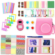 Fujifilm Instax Mini 9 Accessories, Leebotree 10 in 1 Camera Bundles Set Include Case/Album/Selfie Lens/Coloured Filters/Wall Hang Frames/Film Frames/Border Stickers/Corner Stickers/Pen