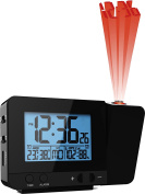 Atomic Projection Clock With Temperature TG644 – Ceiling / Wall Projection Alarm Clock With 2 Alarms, Hygrometer And USB Port For Charging Devices By ThinkGizmos