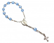 Precious Pieces Baby's Sterling Silver Baptism Baby Rosary in Blue