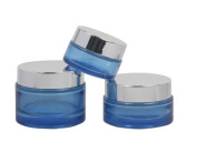 2PCS Blue Glass Empty Refillable Travel Packing Sample Lip Balm Face Cream Ointment Cosmetics Lution Storage Bottle Vial Jar Pot Case Container Box