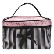 Beauty Top Travel Square Bow Stripe Cosmetic Bag Makeup Storage Bag