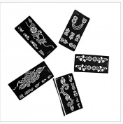5pc Jennah RIGHT FOOT Indian Arabian Tattoo Reusable Stencils Stickers To Draw Around By LAMINAU
