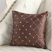 LanLan Pillows Sofa Bed Decor Multicoloured Plaids Pillow Case Back of a chair.Coffee 43*43.