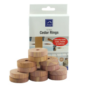 12 Pack Cedar Rings - Prevent Build-Up Of Mustiness And Mildew In Wardrobes, Drawers And Storage Units