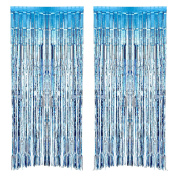 Outus 2 Pack Foil Curtain Metallic Foil Fringe Curtains Door Window Curtains for Party Decorations