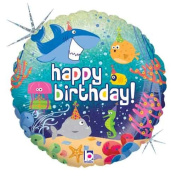 Single Source Party Supplies - 46cm Birthday Ocean Mylar Foil Balloon