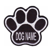 Custom Dog Name Paw (Black) Embroidered Sew On Patch Sew on