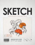 Premium Sketch Paper for Pencil, Ink, and Marker. Orange Designer's Dot Pattern Grid. Great for Art, Design and Education. (Jumbo 22cm x 28cm )