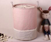 Addfun®Premium Fabric Foldable Round Laundry Basket, Stitching Lace Laundry Basket Children Toys Storage Holder with Lids 35*45cm Pink Plaid