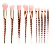 Unicorn Makeup Brushes Set Make up Brushes Professional Foundation Powder Eyeshadow Blending Concealer Cosmetics Tools Brushes Kit 10PCS Gold